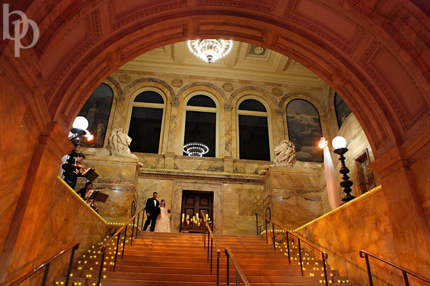 Boston Public Library Wedding Staircase Ceremony © Brian Phillips Photography