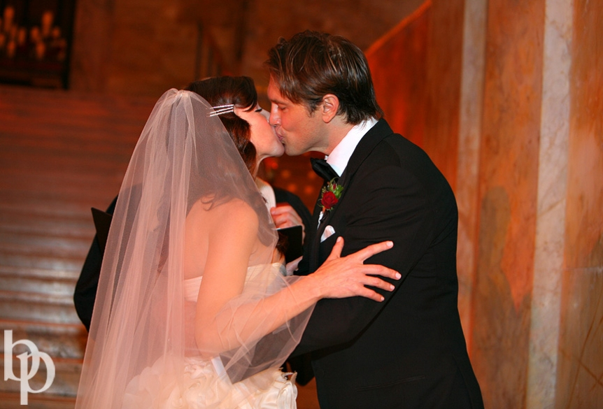 Boston Public Library Wedding Kiss © Brian Phillips Photography